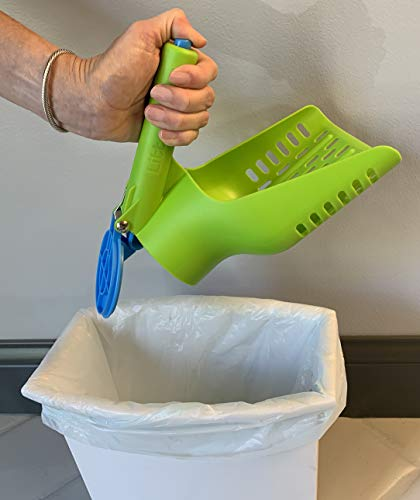 Large Cat Litter Scoop, Patented Scoop and Release Design, Easy Clean Plastic Kitty Litter Scoop (Green/Blue)