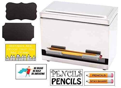 Stainless Steel Pencil Dispenser For Bulk Pencil Storage and Dispensing Custom Pencil Inspirational Classroom and Chalkboard Marker Labels Included