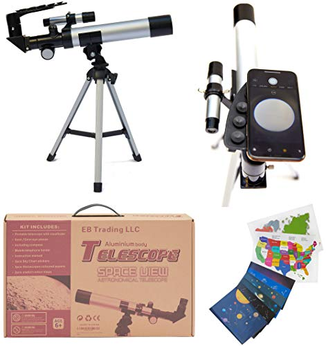 Space Kid's Explorer Telescope Gift Kit Eco Carry Case Children Astronomy Beginner Tabletop Tripod Compass Science