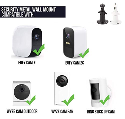 Adjustable Indoor/Outdoor Security Metal Wall Mount Compatible with Arlo Pro/Pro 2/Pro 3/Pro 4/Ultra/Ultra 2 & Others - Ring Stick Up Cam Battery, eufyCam E/2C, Wyze Cam Outdoor/Pan (2 Pack, White)