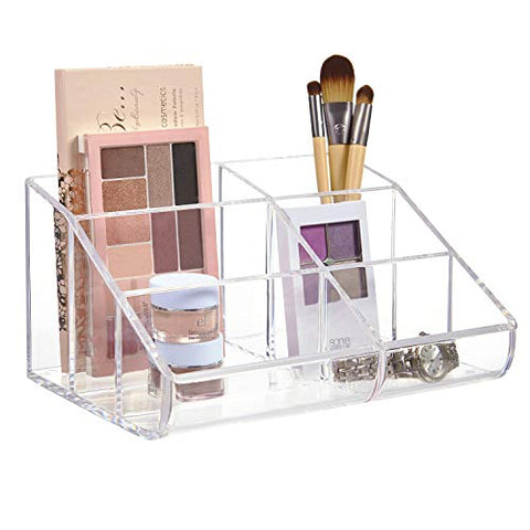 Clear Plastic 6-Compartment Vanity Makeup Organizer