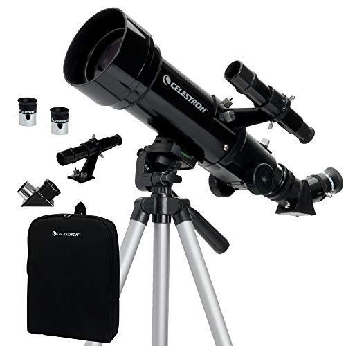 70mm Travel Scope - Portable Refractor Telescope - Fully-Coated Glass Optics - Ideal Telescope for Beginners - BONUS Astronomy Software Package