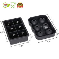 Ice Cube Trays (Set of 2), Silicone Sphere Whiskey Ice Ball Maker with Lids & Large Square Ice Cube Molds for Cocktails & Bourbon