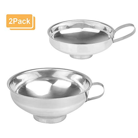 "2Pack Canning Funnel for Wide and Regular Mouth Mason Jar Spices Cans, Stainless Steel with Handle, Neck Size 2.3"" and 1.5"" (2 Pack)"