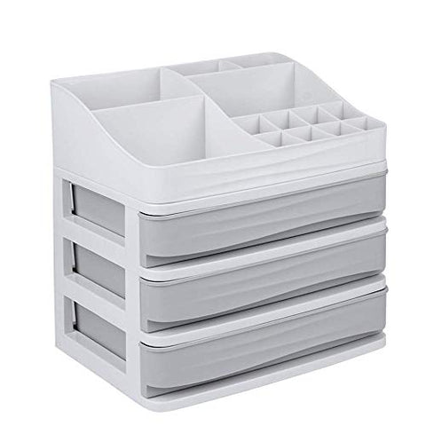 Cosmetic Makeup Organizer Plastic Storage Box with Drawer Lipsticks Holder Desktop Sundry Storage Case