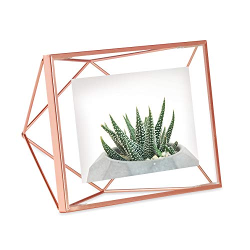 FanBell Prisma Picture Frame, 4x6 Photo Display for Desk or Wall, Copper