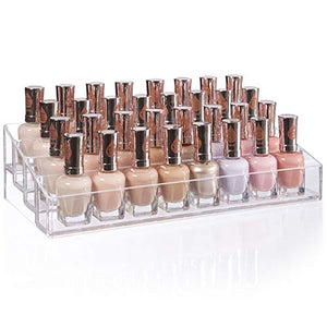 Clear Plastic Multi-Level Nail Polish Organizer | Holds up to 40 Bottles
