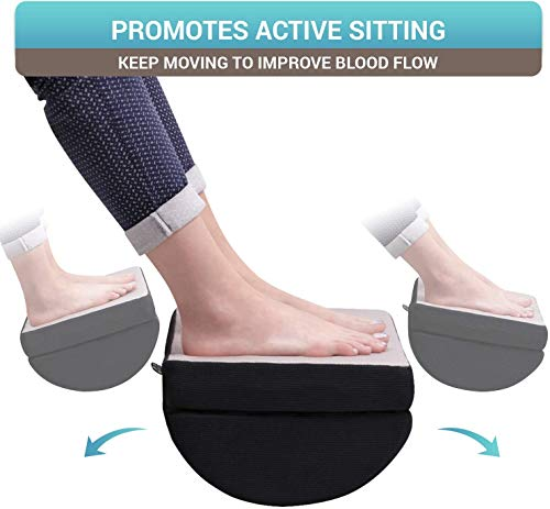 "Foot Rest Under Desk Cushion - Adjustable Height 6"" - Ergonomic Half-Cylinder Pad for Extra Leg Support - Breathable Mesh Cover - Non-Slip Bottom - Foot Stool for Home and Office"