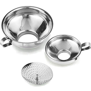 Canning Funnel with Strainer for Wide and Regular Jars Wide-mouth Kitchen Funnel for Mason Jars Canning Supplies Kit Stainless Steel