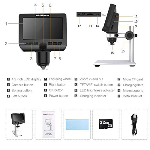 "LCD Digital Microscope 4.3"" 1080P 2 Megapixels 1000X Magnification Wireless USB Stereo Microscope Camera Work with iPhone Android iPad MAC Windows"