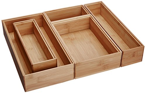 Lipper International 88005 Bamboo Wood Drawer Organizer Boxes, Assorted Sizes, 5-Piece Set