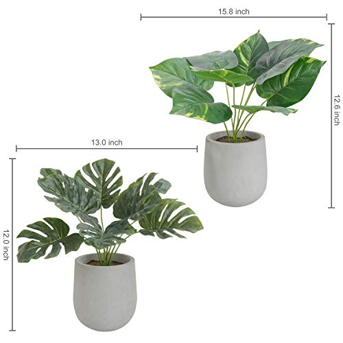 MyGift Artificial Turtle Leave Plants with Paper Pulp Pots, Set of 2
