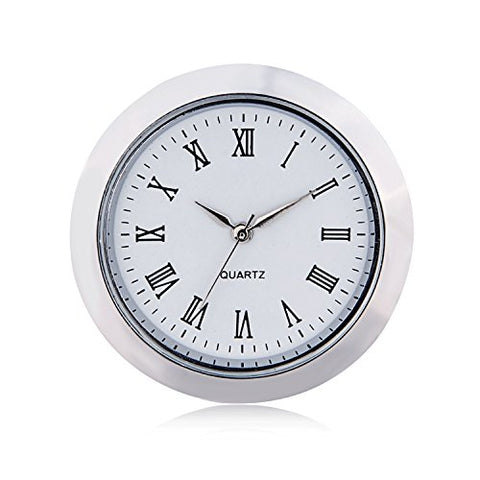 "Mini Clock Insert Quartz Movement Round 1 7/16"" (35mm) Miniature Clock Fit Up White Face Silver Tone Bezel Roman Numerals CK097SL"