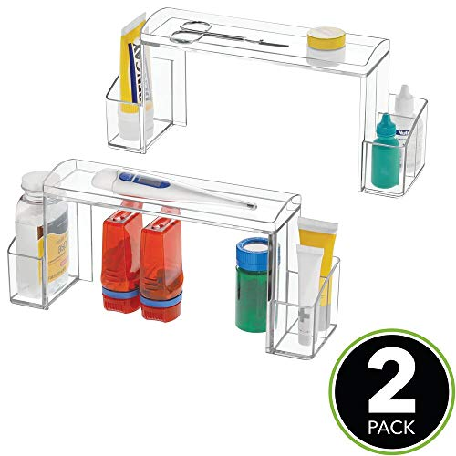 Small 2-Tier Plastic Medicine Cabinet High-Rise Storage Organizer - for Vitamins, Medical Supplies Makeup Door Shelf Organization - 2 Pack - Clear