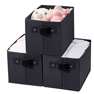 Qozary Storage Bin for Shelves, Fabric Closet Organizer Shelf Cube Box with Handle Home Office Storage Baskets