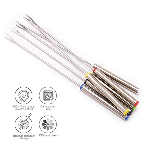 "Set of 12 Stainless Steel Fondue Forks 9.5"" Color Coding Cheese Fondue Forks Heat Resistant Handle Chocolate Fountain Cheese Fondue Roast Marshmallows"