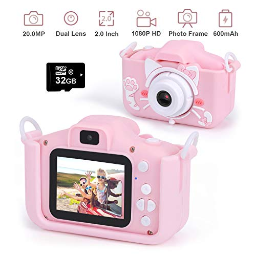 "Kids Digital Camera Child Camcorder Girls Birthday Toy Gifts 4-13-Year-Old Update Dual Cameras 20.0MP Toddler Video Recorder 1080P IPS 2"" Screen"