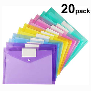 Plastic Envelopes Poly Envelopes, 20 Pack Clear Document Folders US Letter A4 Size File Envelopes with Label Pocket & Snap Button for School Home Work Office Organization, Assorted Color
