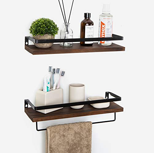 Floating Shelves Wall Mounted Storage Shelves for Kitchen, Bathroom,Set of 2 Brown