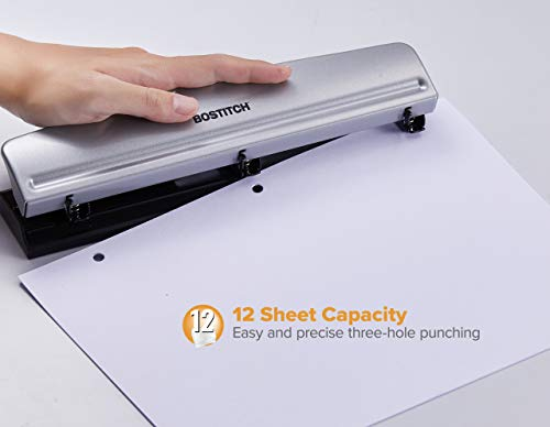 HP12 3 Hole Punch, 12 Sheet Capacity, Metal,Silver