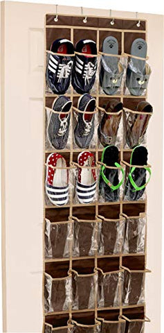 24 Pockets - Crystal Clear Over The Door Hanging Shoe Organizer, Brown