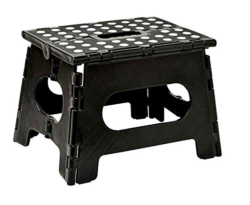 Folding Step Stool 11 Inches Wide with Handle for Kitchen, Bathroom, Bedroom, Kids or Adults(Black)