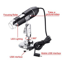 USB Digital Microscope, 3 in 1 Handheld 50X-1600X Magnification Endoscope, 8 LED Mini Video Camera for Windows 7/8/10 Mac Linux Android
