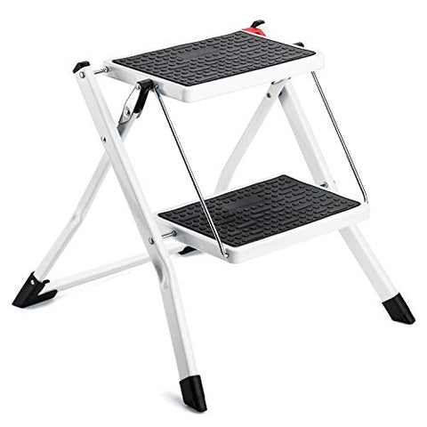 Step Stool for Adults 2 Step Ladder Folding Step Stool with Anti-Slip Sturdy Wide Pedal Hold up to 250lbs Compact and Lightweight Small Step Ladder