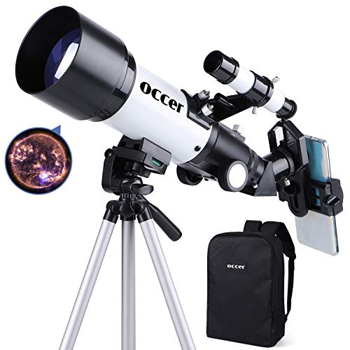 Telescopes for Adults Kids Astronomy Beginners 70mm Aperture 400mm Travel Scope FMC Optic for View Moon Planet Portable Refractor Telescope