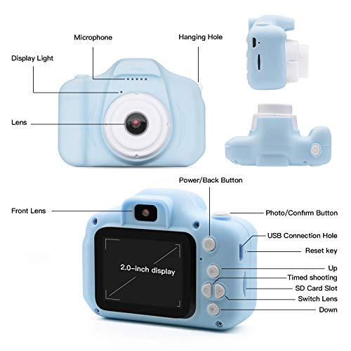 Kids Digital Camera Girls Birthday Toy Gifts for 4-13-Year-Old Children Dual Lens 20.0MP Toddler Cameras Child Camcorder Video Recorder 1080P IPS