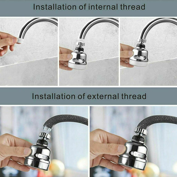 FanBell 360 Degree Rotating Faucet Movable Kitchen Tap Head Water Saving Nozzle Sprayer