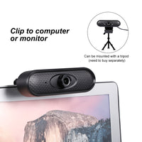 FanBell 1080p/30fps HD Webcam, PC USB Video Web Camera Cam Live Streaming Webcam with Microphone for Desktop Laptop Standing and Clip-on