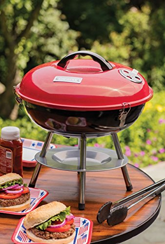 "FanBell CCG190RB Portable Charcoal Grill, 14-Inch, Red, 14.5"" x 14.5"" x 15"""