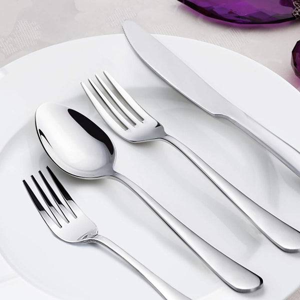 FanBell 24-Piece Silverware Set, Flatware Set Mirror Polished, Dishwasher Safe Service for 4, Include Steak Knife/Fork/Spoon