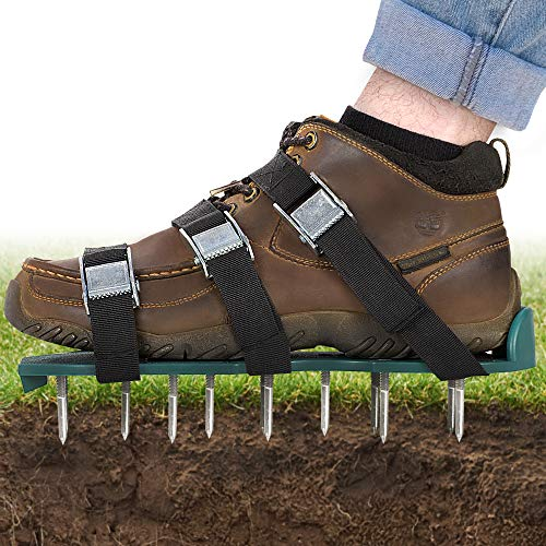 Lawn Aerator Shoes for Effectively Aerating Lawn Soil 3 Adjustable Straps Heavy Duty Metal Buckles One Size Easy Use for a Healthier Yard and Garden