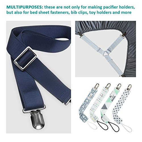 20 Pieces 1.25 inch Suspender Clips Heavy Duty Metal Pacifier Clips for Making Pacifier Holders Bed Sheet Fasteners Straps Bib Clips Toy Holder Silver