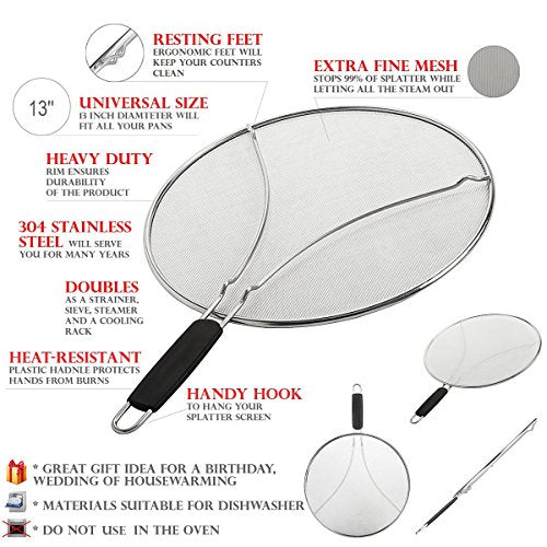 "$9.99 Deal of Grease Splatter Screen for Frying Pan 13"" Stops Hot Oil Splash Protects Skin from Burns Splatter Guard Cooking Iron Skillet Lid"