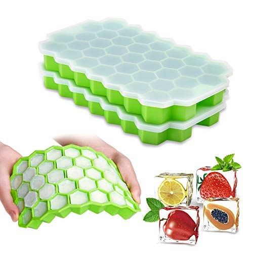 Ice Cube Trays with Lids 2-Pack 74 Ice Cubes Silica Gel Flexible BPA Free Spill-Resistant Removable Lid Ice Cube Molds Chilled Drinks Whiskey Cocktail