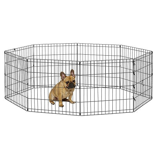 Foldable Exercise Pet Playpen, Black, Small/24
