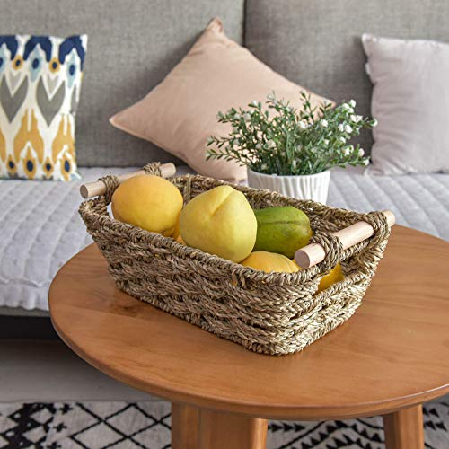 "GRANNY SAYS Hand-Woven Small Storage Baskets with Wooden Handles, Seagrass Wicker Baskets for Organizing, Trapezoid Decorative Baskets, 12"" x 7.1"" x 4.7"", Set of 2"
