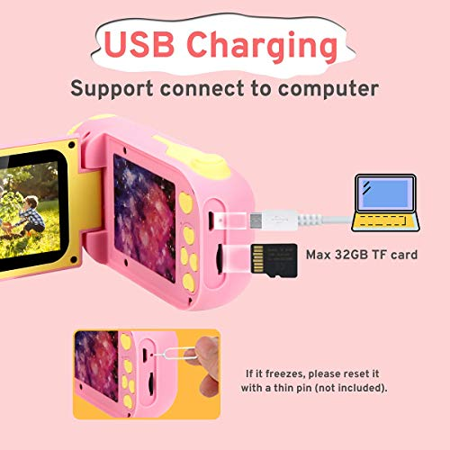 Kids Camera for Girls Digital Camera for Kids Rechargeable 1080P 12MP Toy Cameras 2.4 Inch 4 Year Old Girls Gifts Toys for 5 6 Years Old Girls Toy