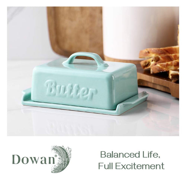 Butter Dish with Lid - Covered Butter Dish with Wooden Knife Groove Design, Large Porcelain Butter Dishes with Covers, Perfect for East West Butter