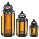 Vela Lanterns Gold Moroccan Style Lantern with Colored Glass