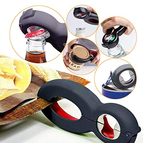 Jar Opener 4 Pack Multi Kitchen Tools Set 5-in-1 6-in-1 Can Opener Bottle Opener 4-in-1 Jar Grip Opener Non Slip Jar Gripper Pad Get Lids Off Easily