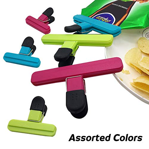 $9.99 Deal of Pack of 6 Chip Bag Clips Heavy Duty Food Clips 3 Large 3 Small Size Assorted Colors for Coffee and Food Bags