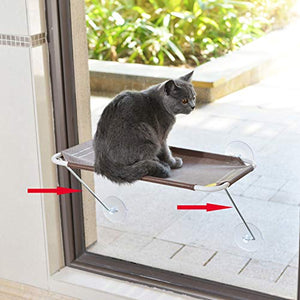 All Around 360° Sunbath and Lower Support Safety Iron Cat Window Perch, Cat Hammock Window Seat for Any Cats (M, Brown)