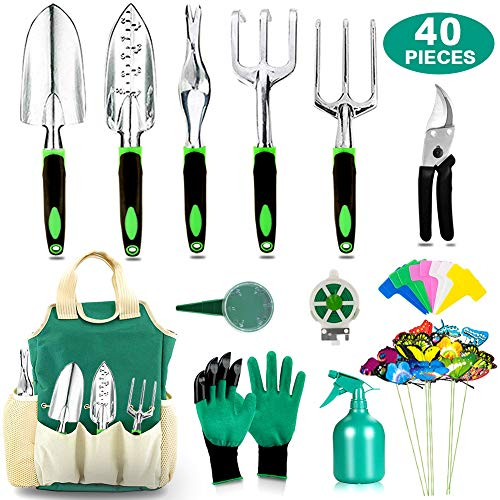 40 PCS Garden Tools Set Heavy Duty Aluminum Manual Garden kit Outdoor Gardening Gifts Tools Set for Men Women