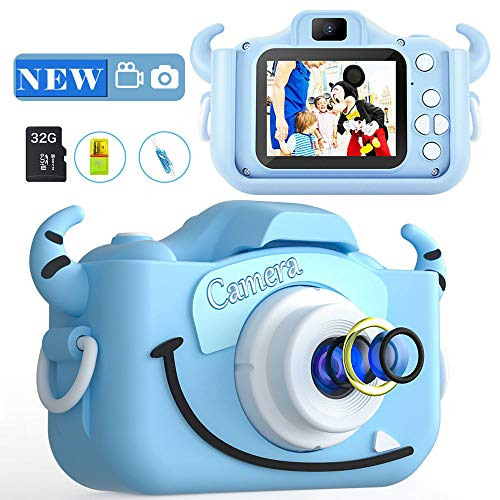 Kids Camera Boys Cute Child Digital Camera 32GB Dual Lens 2.0 Inch IPS Color Screen 20.0MP HD Children Digital Cameras Mini Toy Camcorder