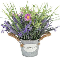 Mixrose Artificial Plant Fake Lavender Flowers Purple in Metal Pot 10inch Height for Indoor Home Party Decoration