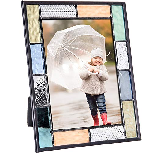 Pic 412 Series Stained Glass Picture Frame Pastel Blue Green Peach Aqua - Available in 4x6 or 5x7 (4x6)